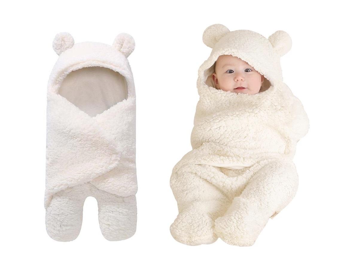 Manta de beb c lida orejas de dibujos animados sobre envolver el invierno reci n nacido 2 1