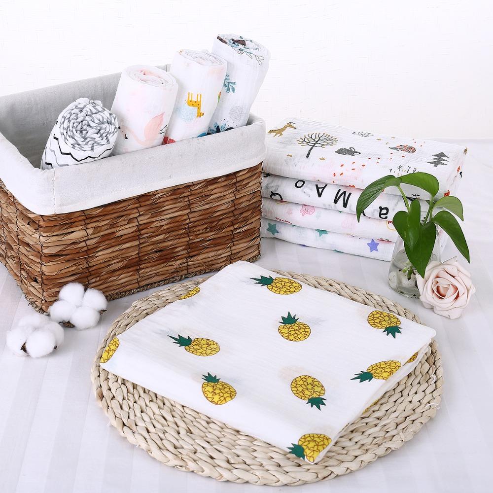 Puseky Flamingo Rosa frutas impresi n mantas muselina del beb cama infantil Swaddle toalla para reci 1