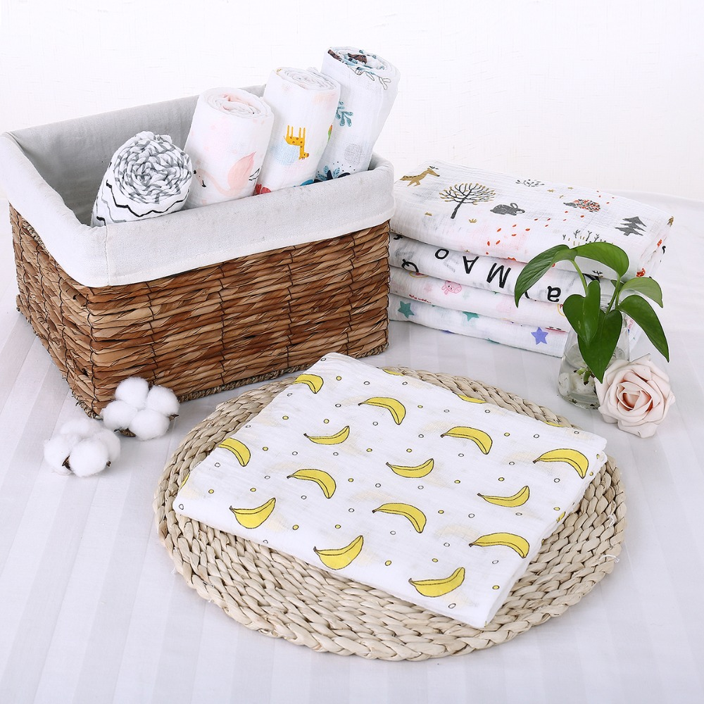 Puseky Flamingo Rosa frutas impresi n mantas muselina del beb cama infantil Swaddle toalla para reci 2