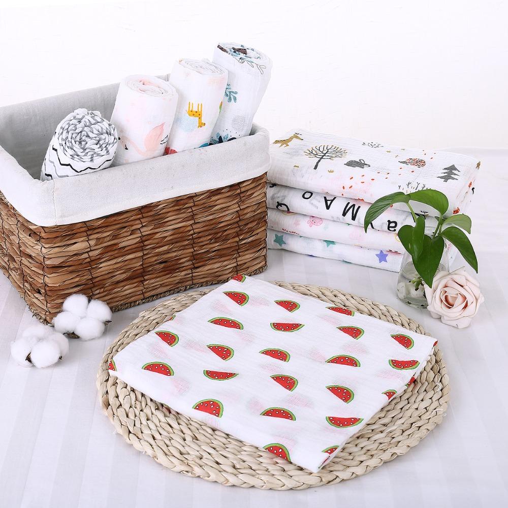 Puseky Flamingo Rosa frutas impresi n mantas muselina del beb cama infantil Swaddle toalla para reci 3