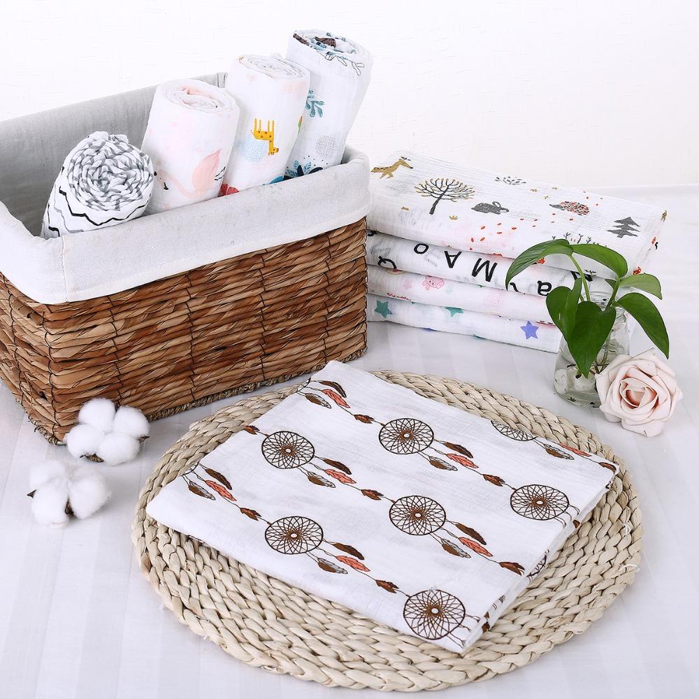 Puseky Flamingo Rosa frutas impresi n mantas muselina del beb cama infantil Swaddle toalla para reci 4