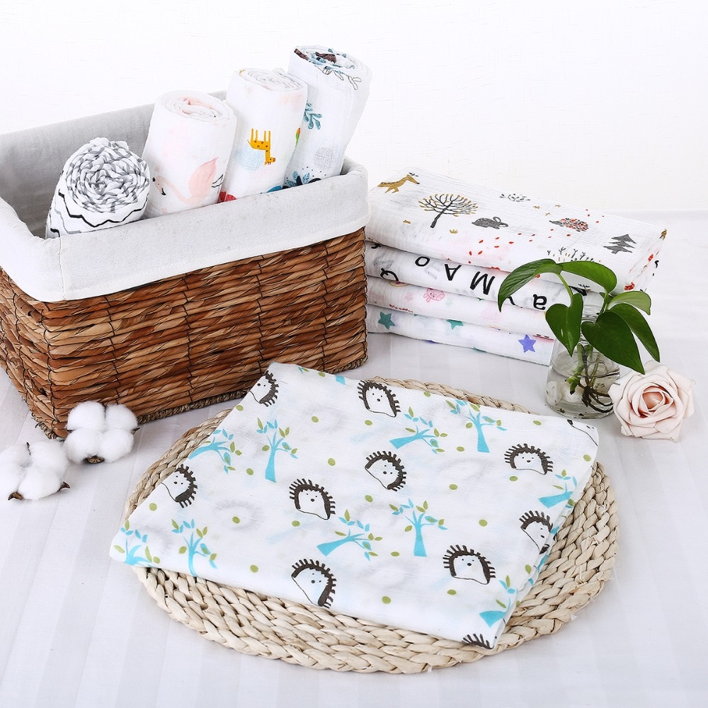 Puseky Flamingo Rosa frutas impresi n mantas muselina del beb cama infantil Swaddle toalla para reci 5