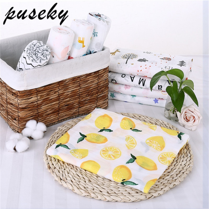 Puseky Flamingo Rosa frutas impresi n mantas muselina del beb cama infantil Swaddle toalla para reci