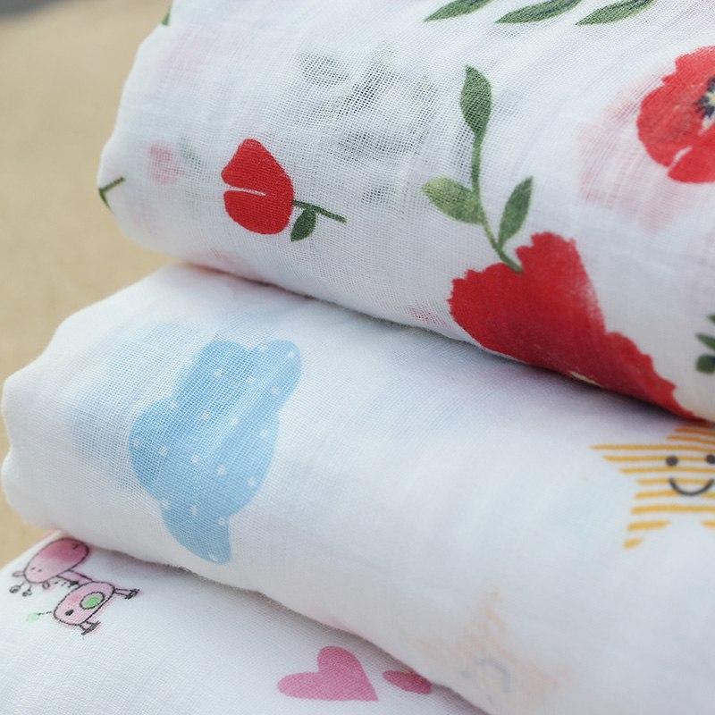 Rosa Cisne 100 algod n rosa Flamingo frutas muselina mantas de Beb Ropa de cama infantil 3