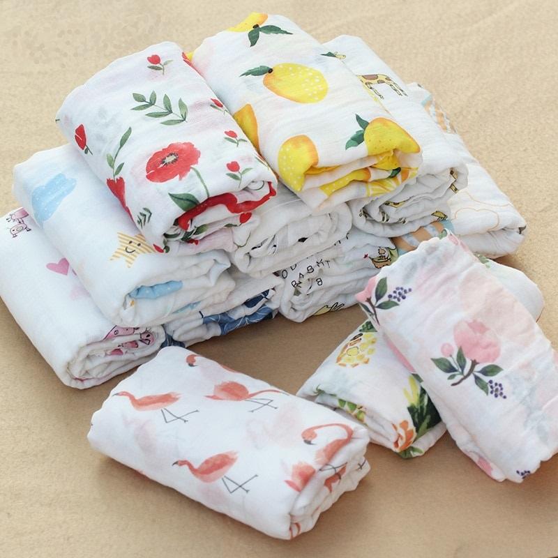 Rosa Cisne 100 algod n rosa Flamingo frutas muselina mantas de Beb Ropa de cama infantil 6