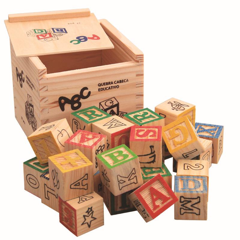 27 unids set letras digitales de madera en ingl s apilando bloques de construcci n cubos