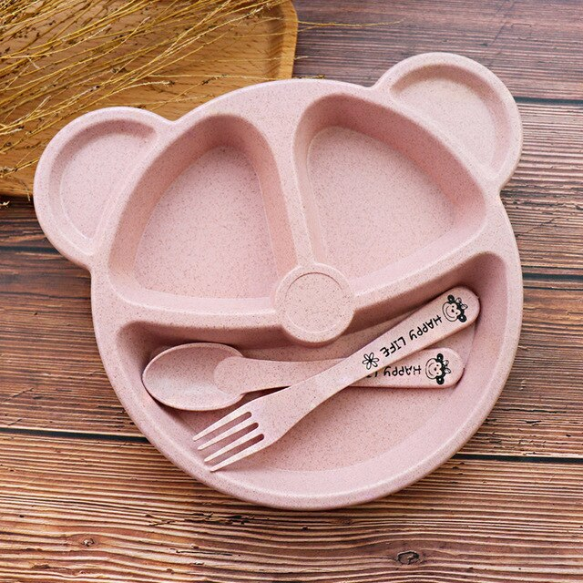 Cuenco hipoac para beb cuchara tenedor comida de alimentaci n juego de vajilla de oso