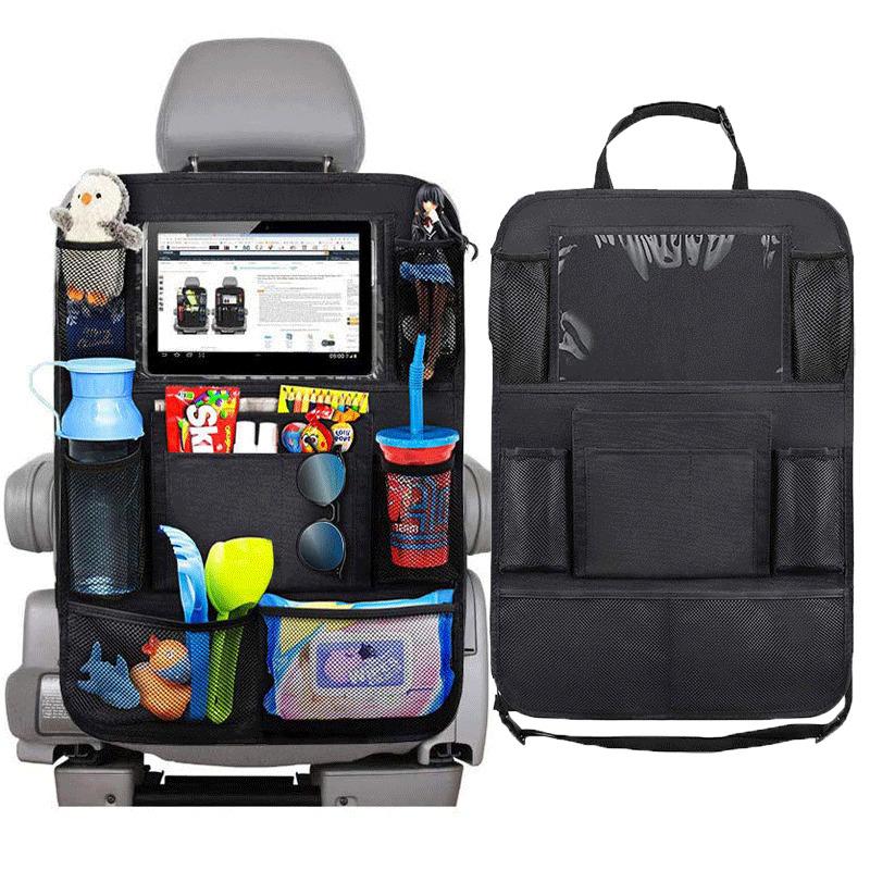 Organizador de asiento trasero de coche Universal bolsa de almacenamiento de varios bolsillos soporte para tableta