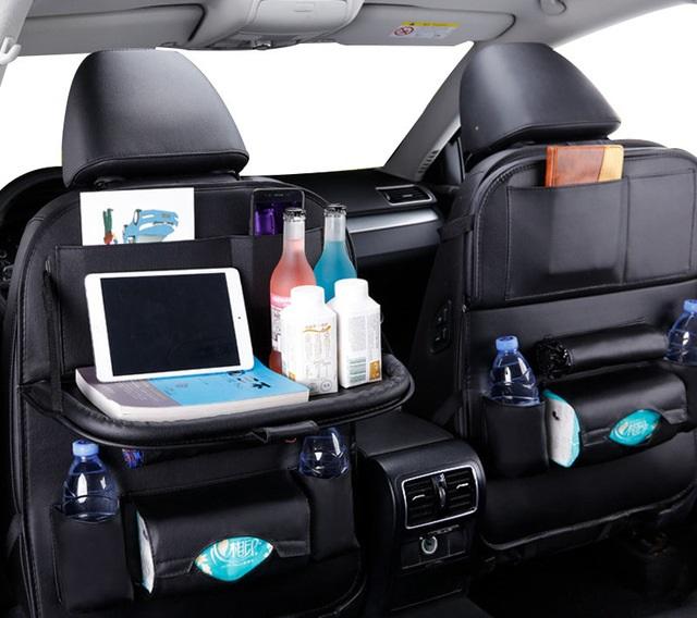 Organizador de asiento trasero de coche bolso de cuero Pu organizador de almacenamiento de coches